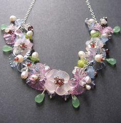 Flower Necklace  Lucite Garnet Sterling by SimpleElementsDesign, $90.00