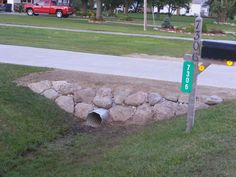 Check out this vital photo as well as have a look at the shown ideas on Landscap...#check #ideas #landscap #photo #shown #vital Mailbox Landscaping, Landscaping With Rocks, Garden Landscaping, Landscaping Ideas, Driveway Culvert, Driveways, Walkways, Drainage Ditch, Outdoor Projects