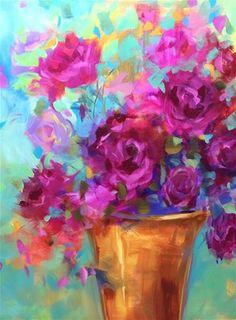 "Nancy Medina ~ ""Fuschia, Fire And Peonies""~ Painting In Acrylics At The Dallas Arboretum ~ Nancy Medina Art, Videos And Classes ~ Original,Fine Art For Sale ~ © Nancy Medina"
