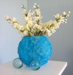 Beach Decor Sea Glass Vase - Nautical Decor Beach Glass Vase,  Aqua Turquoise. $50.00, via Etsy.