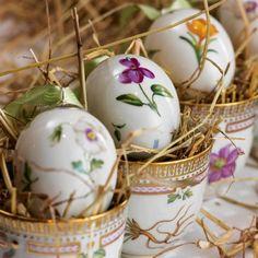 What charmingly elegant floral print porcelain Easter eggs.