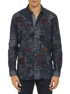 Say it with flowers! It looks like denim, but the fabric's sooo much more luxurious. With attention to all the usual RG details, including a cool contrast elbow piece, and a floral print in this season's hottest hues—we say this shirt shouts serious style.