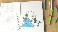 De blauwe prinses, met de oorspronkelijke schets. Illustratie uit kinderboek PIEN, Myrthe v/d Meer (voorjaar 2016)