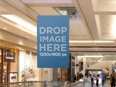 Poster Mockup, Hanging Ad on the Ceiling at the Mall Placeit Stage Image