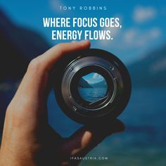 ... energy flows. - Tony Robbins. Focus is key to success. Do you need inspiration and motivation. Visit us on ifasaustria.com/quotes Best Inspirational Quotes, Great Quotes, Improve Your English, English Quotes, Tony Robbins, Flow, Improve Yourself, Success, Key