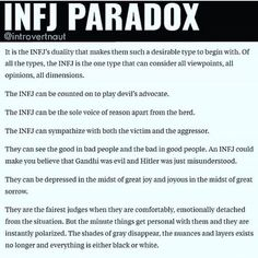 """So true, but I wouldn't say my personality type is """"desirable"""", like the pin says. It's really hard to be like this. Intj And Infj, Infj Mbti, Infj Type, Enfj, Infj Traits, Myers Briggs Infj, Myers Briggs Personality Types, Infj Personality, Advocate Personality Type"""