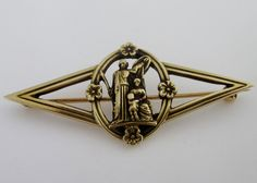 "Fine Antique Tiffany & Co. c1871-96 14K Yellow Gold Brooch Pin Grecian 1.25"" #TiffanyCo"