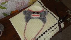 Tiramisu blanket and sock monkey hat