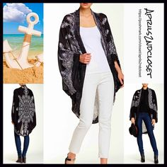 """Boho Kimono Cardigan Coverup NEW WITH TAGS RETAIL PRICE: $68 L  Boho Kimono Cardigan Coverup  * Relaxed & Oversized Wrap blanket scarf Silhouette  * Beautiful floral print & frayed fringe trim  * Incredibly lightweight for most seasons  * Cocoon like loose knit style w/long wide kimono sleeves, long cardigan style  * About 41.5"""" long   Fabric:100% Viscose Color: Floral Print Black & Ivory Item:9350  No Trades ✅Offers Considered*/Bundle Discounts✅ *Please use the blue 'offer' button to submit…"""