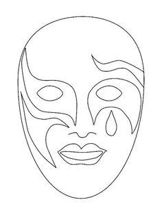 Mardi Gras Mask Template Design Venetian Masks Coloring Pages