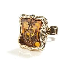 """19C, a Scottish gentleman's seal fob  --- carved & faceted citrine, in an elaborate gold-plated case. The initials are """"WC,"""" the motto is """"Touch Not the Cat But a Glove.""""  Can't help wondering if there was a """"with"""" that went missing."""