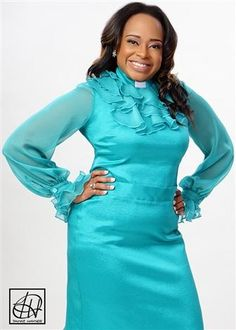 Available in all colors and sizes online or call 972-754-5096! Tawni Haynes Custom Tiered Ruffle Clergy Blouse featuring an elegant victorian-style ruffle collar and double flounce cuffs. Choose to have the sleeves done in sheer chiffon or a standard fabric! Available in petite, standard, and plus sizes.