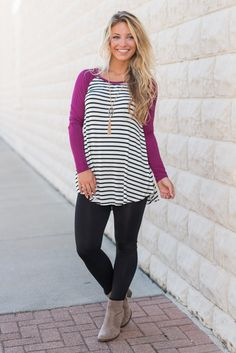 """""""Fun For Sport Top, Magenta""""Solids, stripes and a baseball cut?! We think we may have found the best top ever!  #shopthemint #newarrivals"""