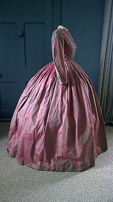 Colourful 1860s Crinoline Dress -Great Condition - Victorian Antique