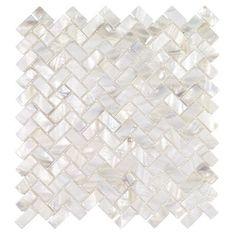 Ivy Hill Tile Pacif Random Sized Glass Pearl Shell Mosaic Tile in Polished White/Pearl Marble Mosaic, Mosaic Tiles, Wall Tiles, Mosaic Wall, Mosaic Backsplash, Stone Mosaic, Splashback Tiles, Kitchen Backsplash, Kitchen Cabinets