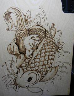 wood burning Koi fish - project done - pyrography Wood Burning Crafts, Wood Burning Patterns, Wood Burning Art, Koi Fish Colors, Pyrography Patterns, Leather Art, Arte Popular, Gourd Art, Fish Art