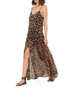 Suspender V-neckline Leopard Print Long Dress