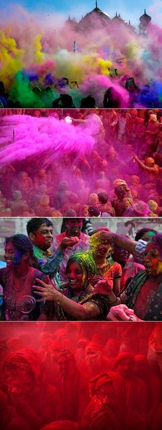 Spring Festival Of Colour  onor about the 8th of March the beautifully vibrant Holi festival took place around the world. It's one of those amazing Hindu spring traditions where participants throw bright scented powder and perfume at each other in celebration of the new season. It's a brilliant way to drop all your inhibitions and simply play, dance and laugh till your belly starts hurting :)