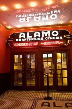 The Alamo Drafthouse at the Ritz on Street in Austin, Texas. This independent movie theater is part of the beloved Alamo Drafthouse chain and features cinematic events such as sing-alongs, quote-alongs, guest speakers, food and drinks. Alamo Drafthouse Austin, Dinner Theatre, Movie Theater, Excellent Movies, Rainy Day Activities, Austin Activities, The Wedding Singer, Loving Texas, Home Of The Brave