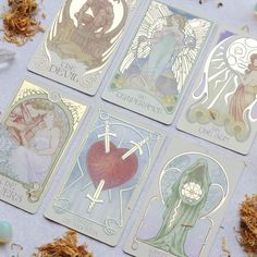 Ethereal Visions: Illuminated Tarot Deck by Matt Hughes who has drawn inspiration from the Art Nouveau movement, adopting its distinctive style & meticulous approach to craftsmanship. deck was originally hand drawn and colored. Wiccan, Magick, Witchcraft, Tech Deck, Tarot Card Decks, Tarot Cards, Best Tarot Decks, Tarot Card Art, Baby Witch