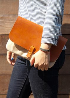 canvas + leather clutch