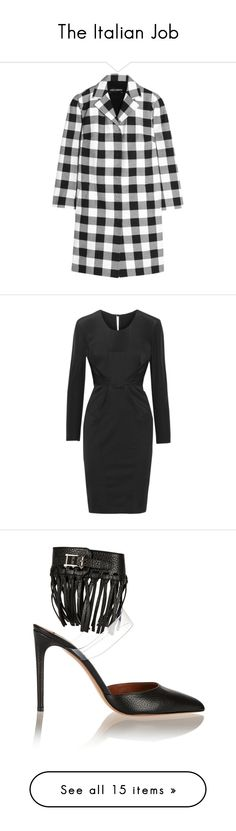 """""""The Italian Job"""" by theoutnet ❤ liked on Polyvore featuring outerwear, coats, dresses, black, black bow dress, keyhole dress, slimming dresses, slimming cocktail dresses, panel dress and shoes"""