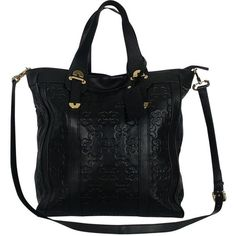 Pre-owned Coccinelle Black Monogram Leather Tote ($99) ❤ liked on Polyvore featuring bags, handbags, tote bags, black, leather tote purse, perforated leather tote, leather tote bags, crossbody handbags and leather crossbody handbags