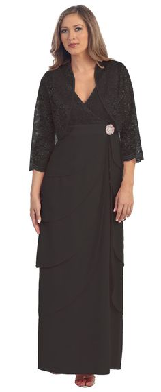 Black V-Neck Long Dress Empire Lace Chiffon Include Lace Jacket $129.99