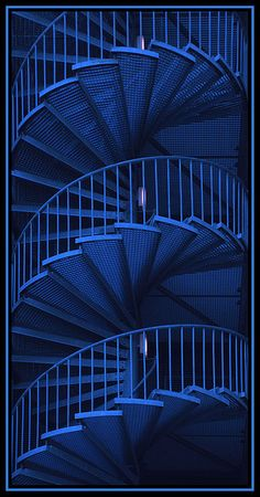 An impressive blue spiral metal staircase. #stairs #architecture