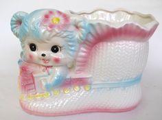 Vintage Kitschy Cute Kawaii Bear Ceramic Planter Nursery by retrowarehouse on Etsy