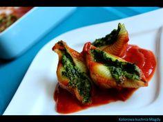 Kolorowa Kuchnia Magdy: Zapiekany makaron Conchiglioni nadziewany szpinaki...