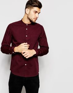Image 1 of ASOS Twill Shirt In Long Sleeve With Grandad Collar
