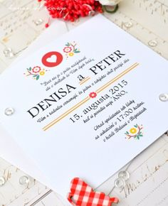 Folk printed wedding invitation