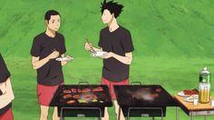haikyuu!!, kai, kuroo, bokuto, BBQ, bokuto stealing meat, anime, ep11, gif