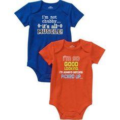 Newborn Baby Boys' Attitude Bodysuits, 2-Pack, Newborn Boy's, Size: 0 - 3 Months, Blue
