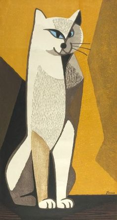 Inagaki Tomoo,Japanese (Tokyo 1902 - 1980) Seated Cat, Shôwa period, Japanese Print, 20th century Shôwa period, 1926-1989. Woodblock print; ink and color on paper.  Harvard Art Museums/Arthur M. Sackler Museum.