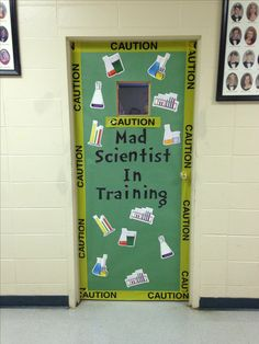 mad scientists in training science classroom decorating ideas Wow your students with these 21 science classroom decorating ideas. These science lab door decoration ideas are perfect for elementary science teachers! Halloween Classroom Door, High School Classroom, Classroom Themes, Classroom Organization, Classroom Board, Biology Classroom Decorations, Halloween Prop, Halloween Witches, Classroom Management