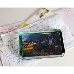Train Glass Paperweight, Steam Locomotive Photo, Collectible Glass,... ($18) ❤ liked on Polyvore featuring home, home decor and office accessories