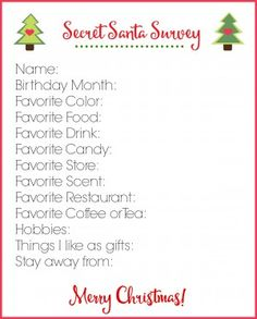 It is an image of Peaceful Secret Santa Sign Up Sheet Printable