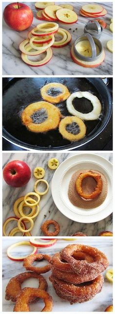 Cinnamon apple rings   A quick and delicious snack of sliced apple rings dipped in a yogurt batter, fried, and topped with cinnamon-sugar.
