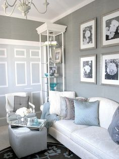 gray grasscloth with blue accents