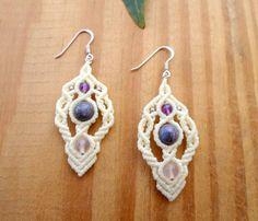 Jasper macrame earrings, micro macrame, gemstone earrings, macrame jewelry…
