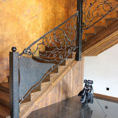 Hand wrought iron interior staircase railing - Roots Interior Railings, Interior Staircase, Staircase Railings, Interior And Exterior, Stairs, Blacksmithing, Wrought Iron, Roots, Home Decor