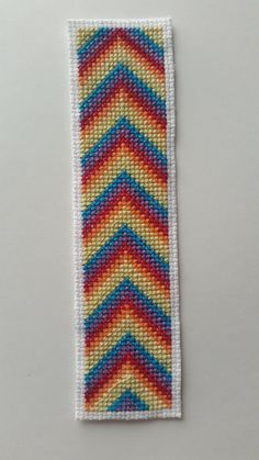 Rainbow Chevron Cross Stitch Bookmark by StitchedAdventures