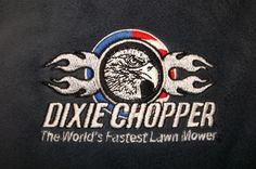 Dixie Chopper logo.  Love the detail in the eagle.  Beautiful design.  Embroidery by Top It Off.  This is a registered logo and the customer was authorized to use it.