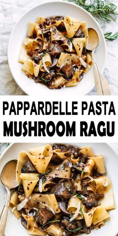 Pappardelle Pasta with Portobello Mushroom Ragu Recipe A simple and quick vegetarian pasta recipe pappardelle with portobello mushrooms and also fresh rosemary in warm bowls, with a glass of red wine onto the side. Vegetarian Pasta Recipes, Vegan Recipes Easy, Cooking Recipes, Easy Vegetarian Dinner, Best Pasta Recipes, Vegetarian Barbecue, Barbecue Recipes, Vegetarian Cooking, Cooking Tips