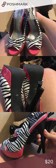 Zebra & Pink Heels Brand new never been worn Zebra & Hot Pink Heels Shoe Dazzle Shoes Heels