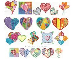 Patchwork Hearts Applique Machine Embroidery Designs | Designs by JuJu