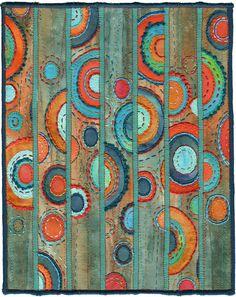 "Kirsten Chursinoff  Patina  2008, textile, thread,  21"" X 17"" framed  10"" X 8"" unframed"