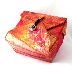 Fabric Box, Tangerine Orange, Handmade Box by PolkadotPossum.
